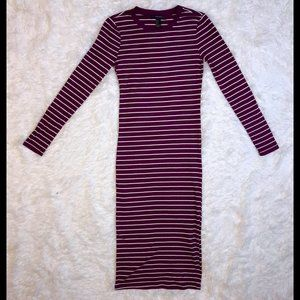 Striped Magenta Long Sleeve Striped Midi Dress